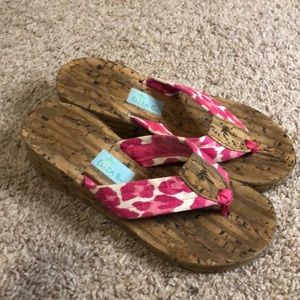 Wedge flip flops with cork like bottom